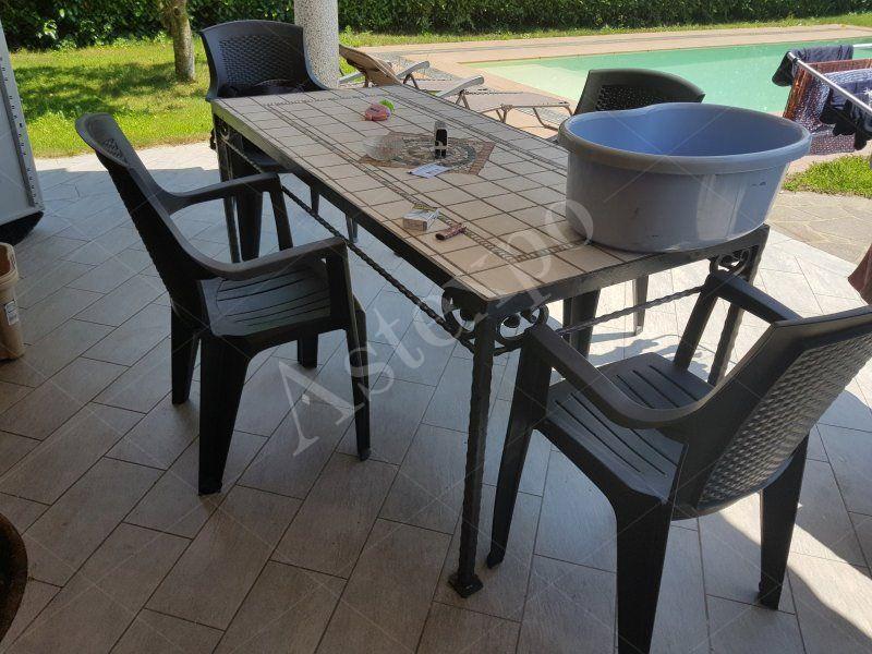 Tavolo Rettangolare Ferro Da Giardino.Tavolo Rettangolare In Ferro E Ceramica Da Giardino Aste